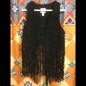 Ladies Leather Fringe Vest by Forever 21 - Small